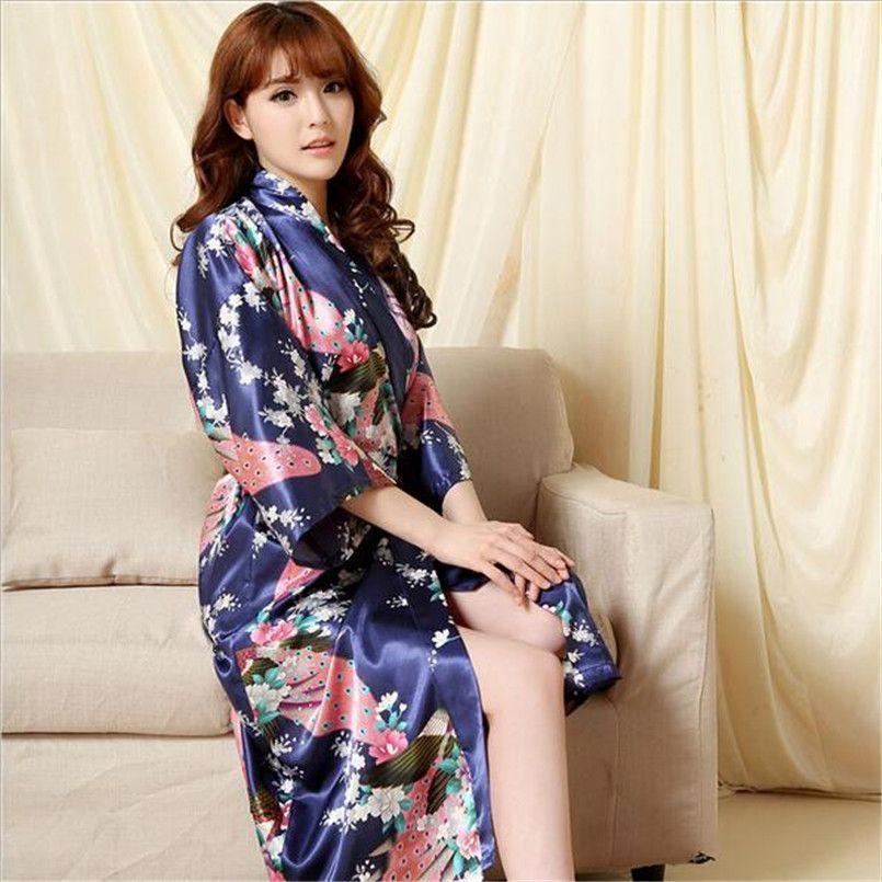 New Brand Design Silk Kimono Bathrobe Women Red Silk Bridesmaid Robes Sexy Robes  Satin bathrobe Long 613c0d8cf