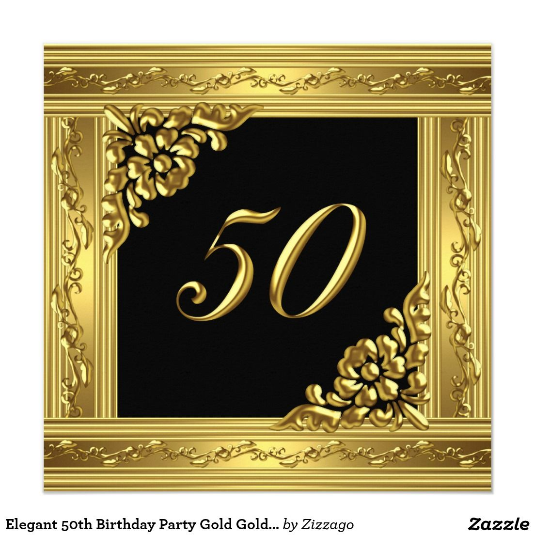 Elegant 50th Birthday Party Gold Golden 50 Black 5 25 Square Invitation Card
