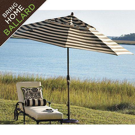 9' Auto Tilt Umbrella, black and tan stripe