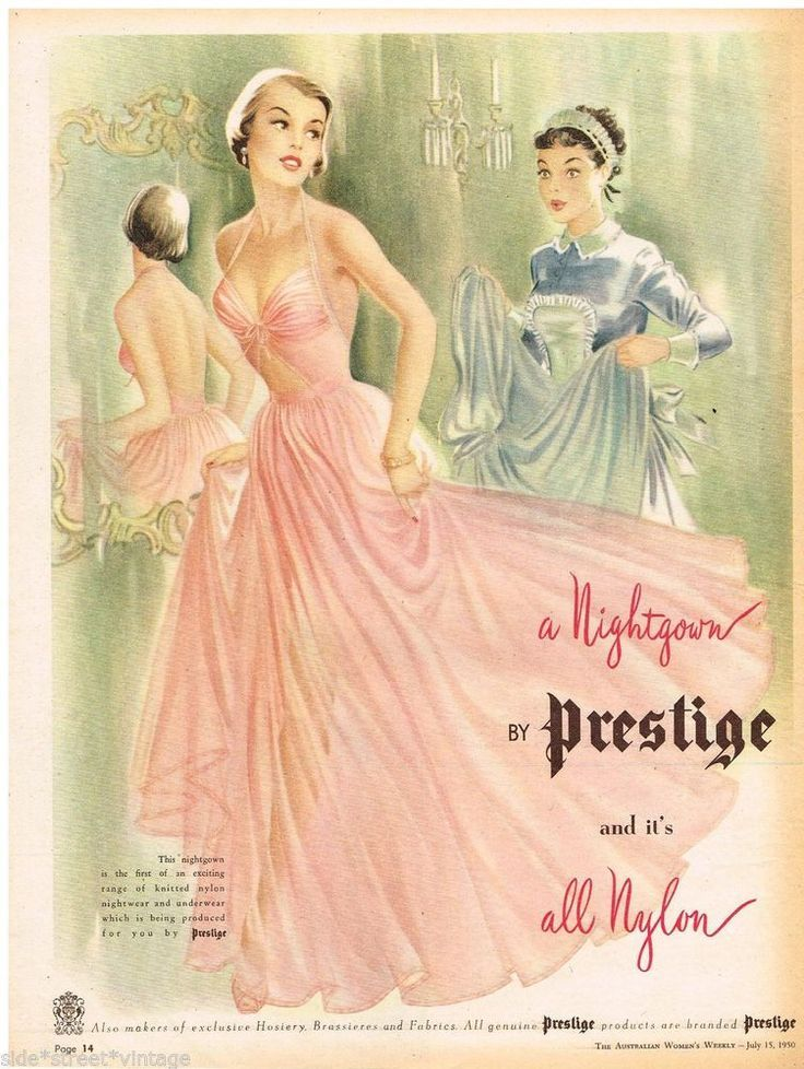 1950 Nighties Ballgown Style by Kayser Advert Early Vintage | 1950 ...