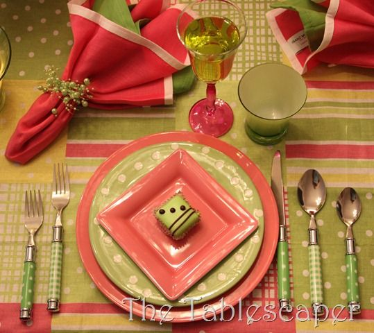 Avocado green and dusty rose with lots of color pattern play. Love the flatware. & Avocado green and dusty rose with lots of color pattern play. Love ...