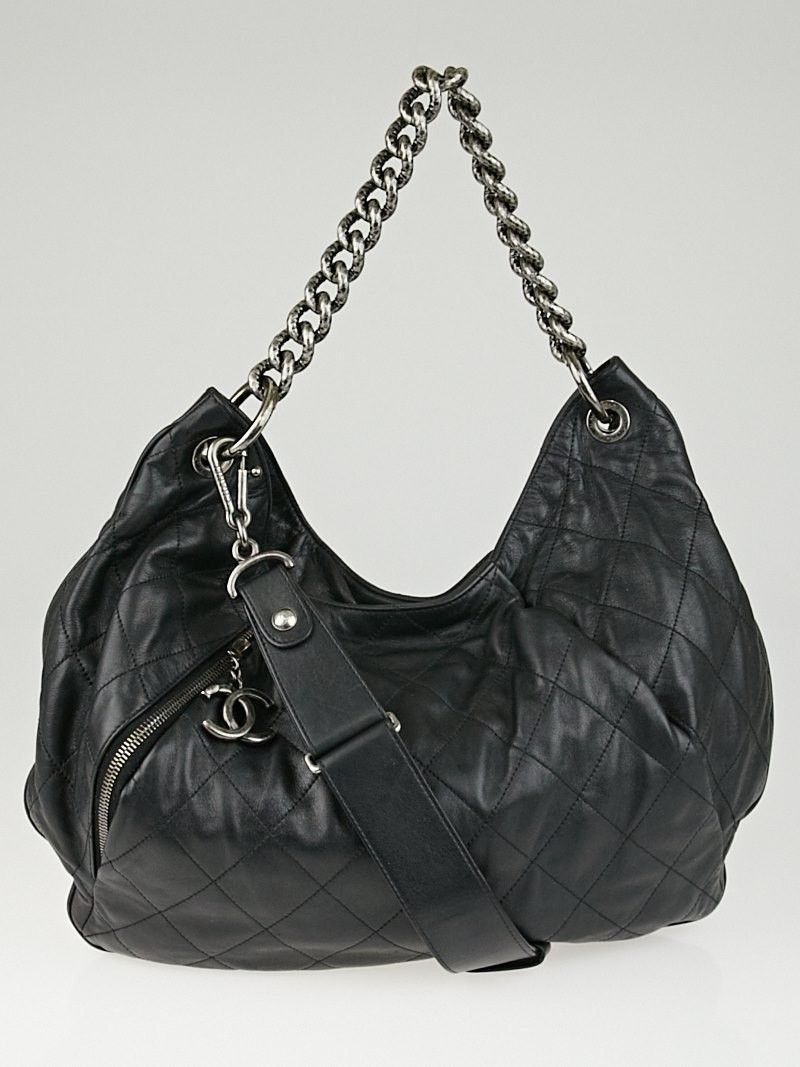e174e3705d25 Chanel Black Quilted Calfskin Leather Coco Pleats Large Hobo Bag ...