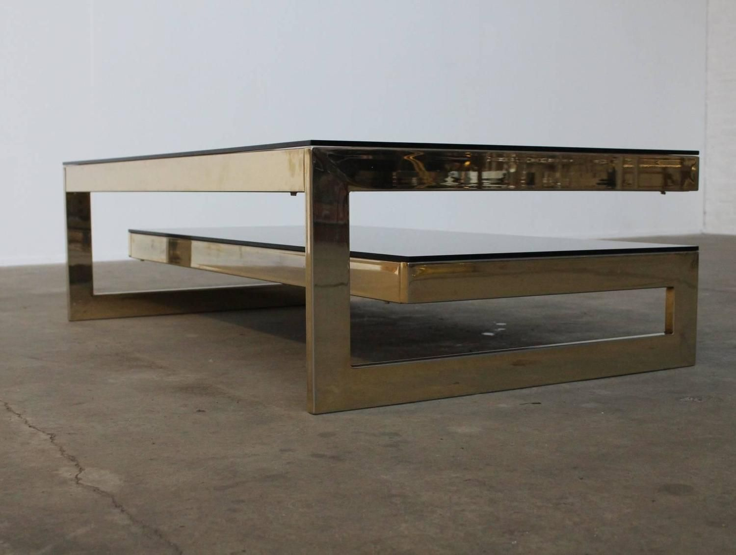 G Shaped 23 Karat Gold Plated Two Level Coffee Table Maison