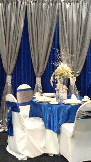 Silver And Royal Blue Satin Backdrop Wedding Backdrops In 2019