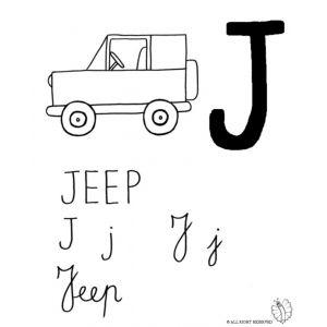 Disegno Di Lettera J Di Jeep Da Colorare Alfabeto Da