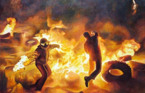 Juxtapoz Magazine - Riot Paintings by David Molesky