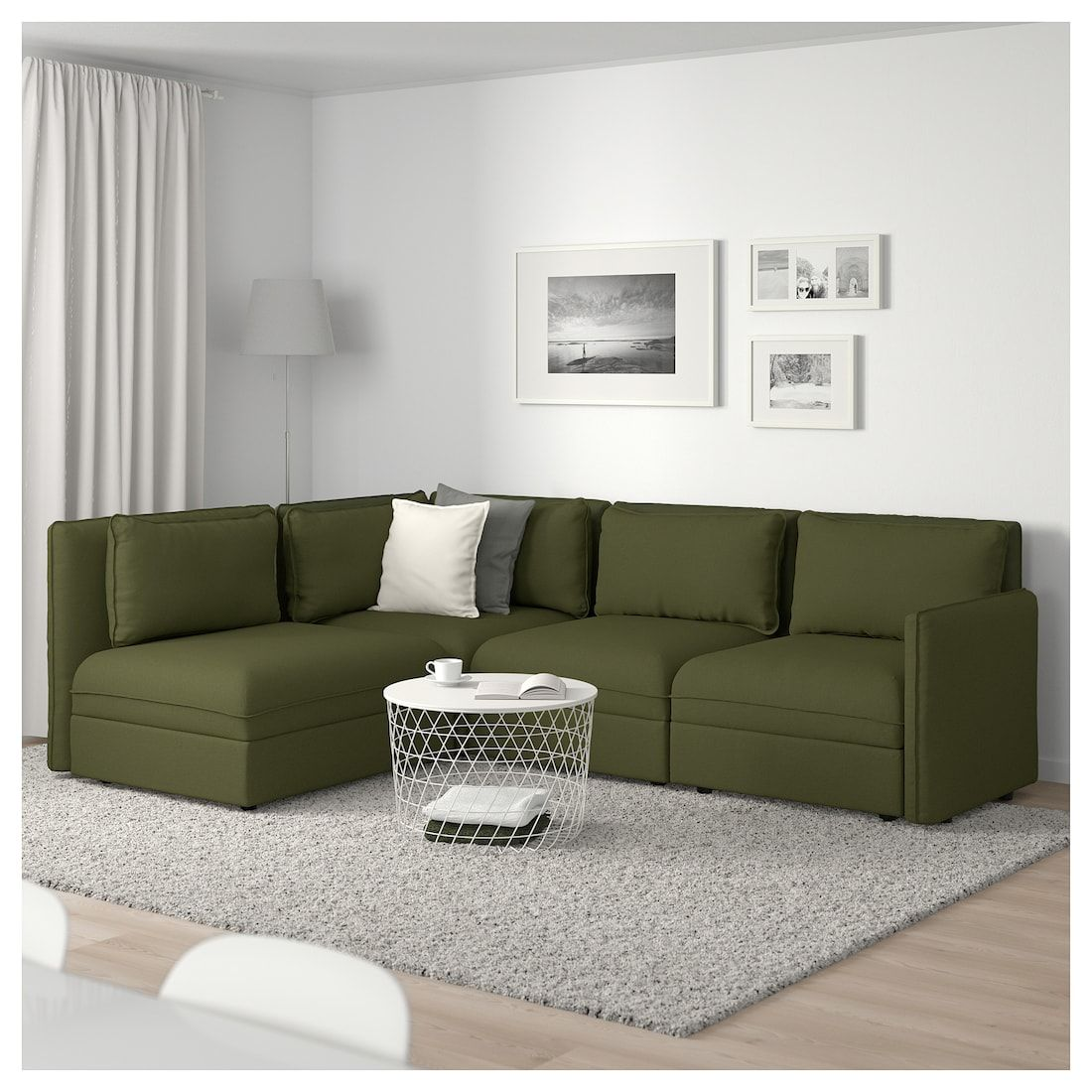 Vallentuna Modular Corner Sofa 3 Seat With Storage Orrsta Olive Green Ikea Modular Corner Sofa Vallentuna Green Couch Living Room #olive #green #couch #living #room