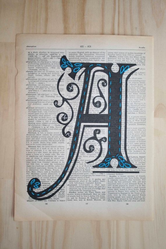 Hand Embroidered typography Art Nouveau Monogram by SoakStudio, $40.00