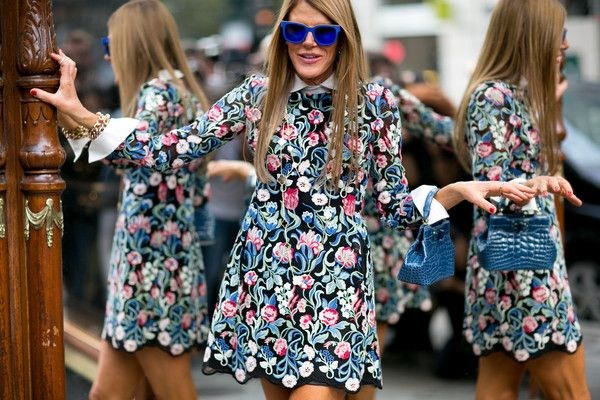 Street Style Spotlight: Statement Shades // electric blue on eclectic Anna Dello Russo