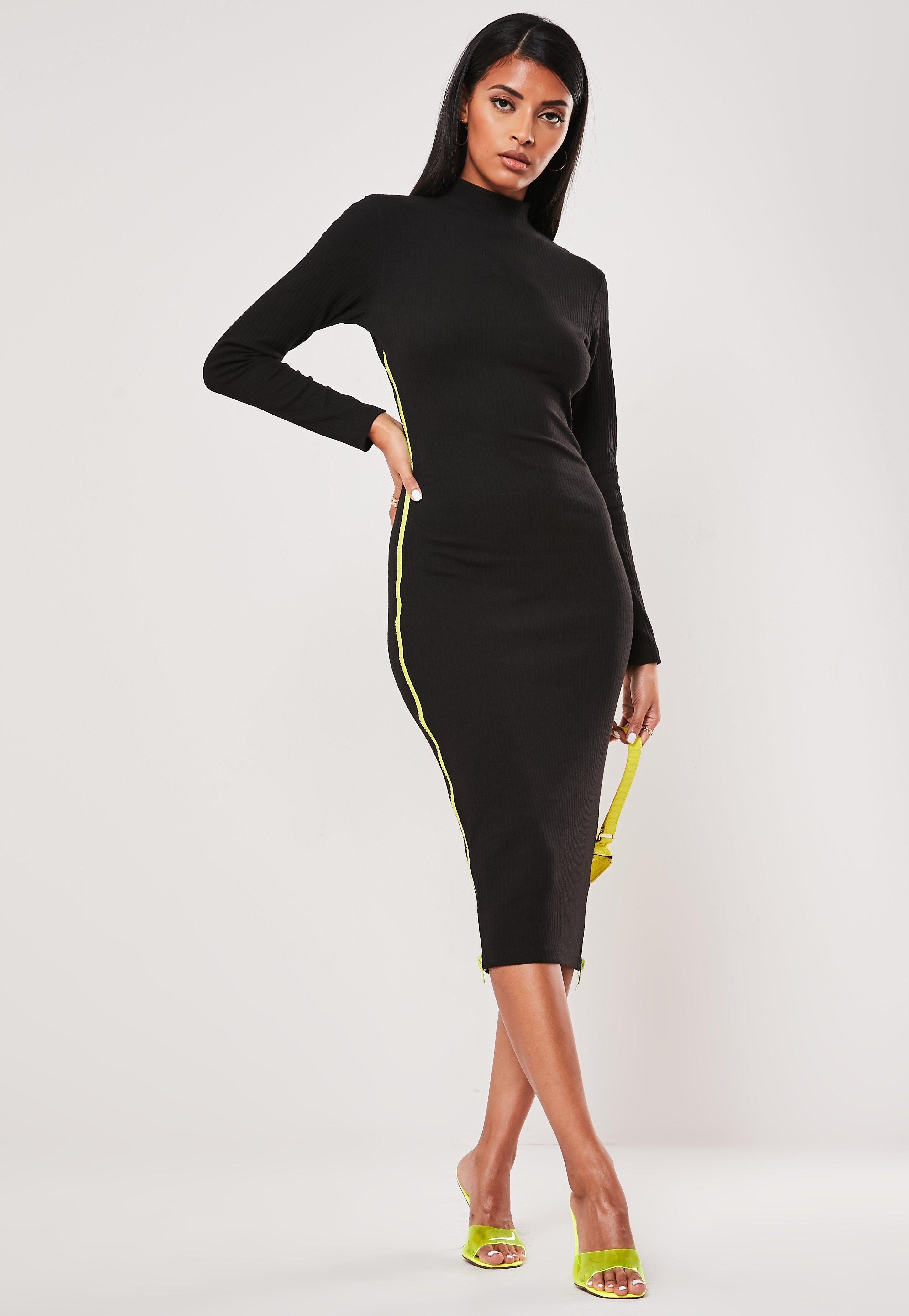 Black Rib Chunky Contrast Zip Midi Dress Sponsored Chunky Spon Rib Black Trending Dresses Fashion Dresses [ 4200 x 2900 Pixel ]