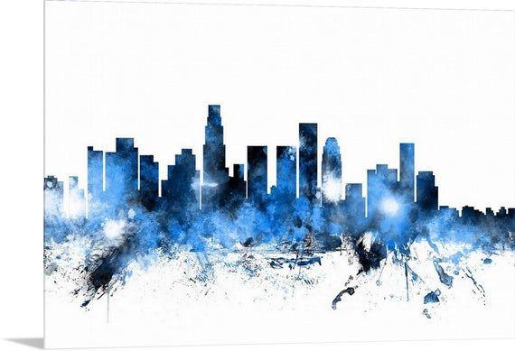 Los Angeles California Skyline Acrylic Wall Art Print Etsy Skyline Painting Skyline Los Angeles Skyline