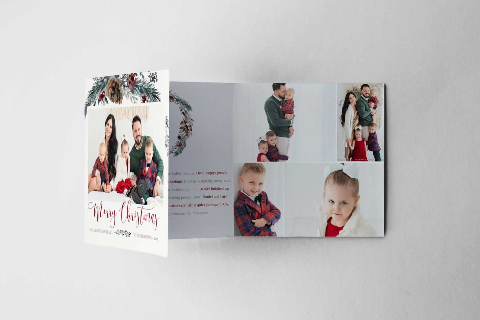 Merry Christmas 5x5 Trifold Photo Card Template Trifold Etsy Photo Card Template Holiday Photo Cards Design Christmas Photo Card Template