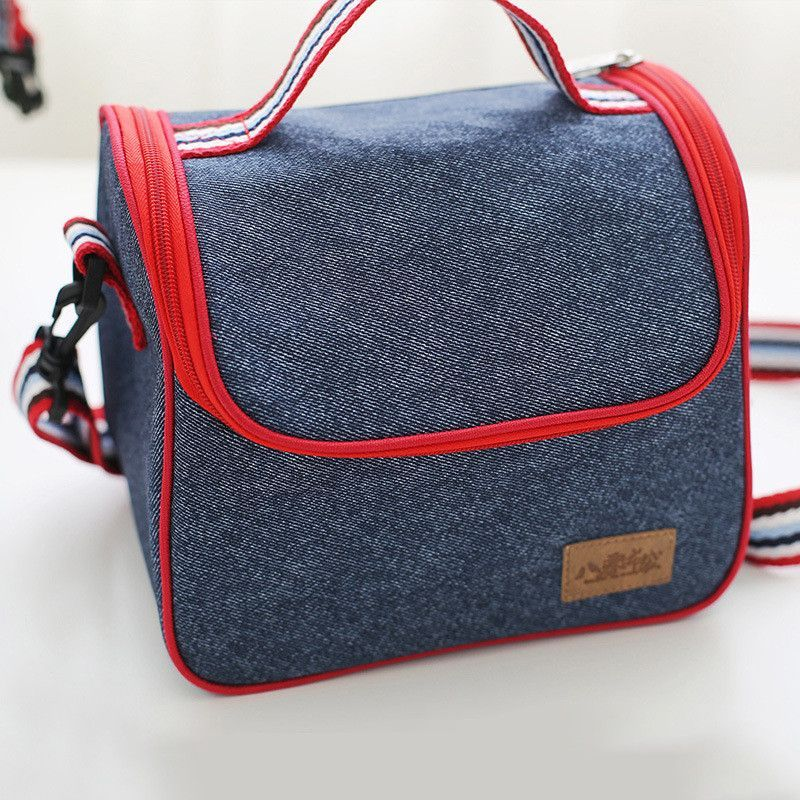 Denim Portable Insulated Thermal Cooler Lunch Box Carry
