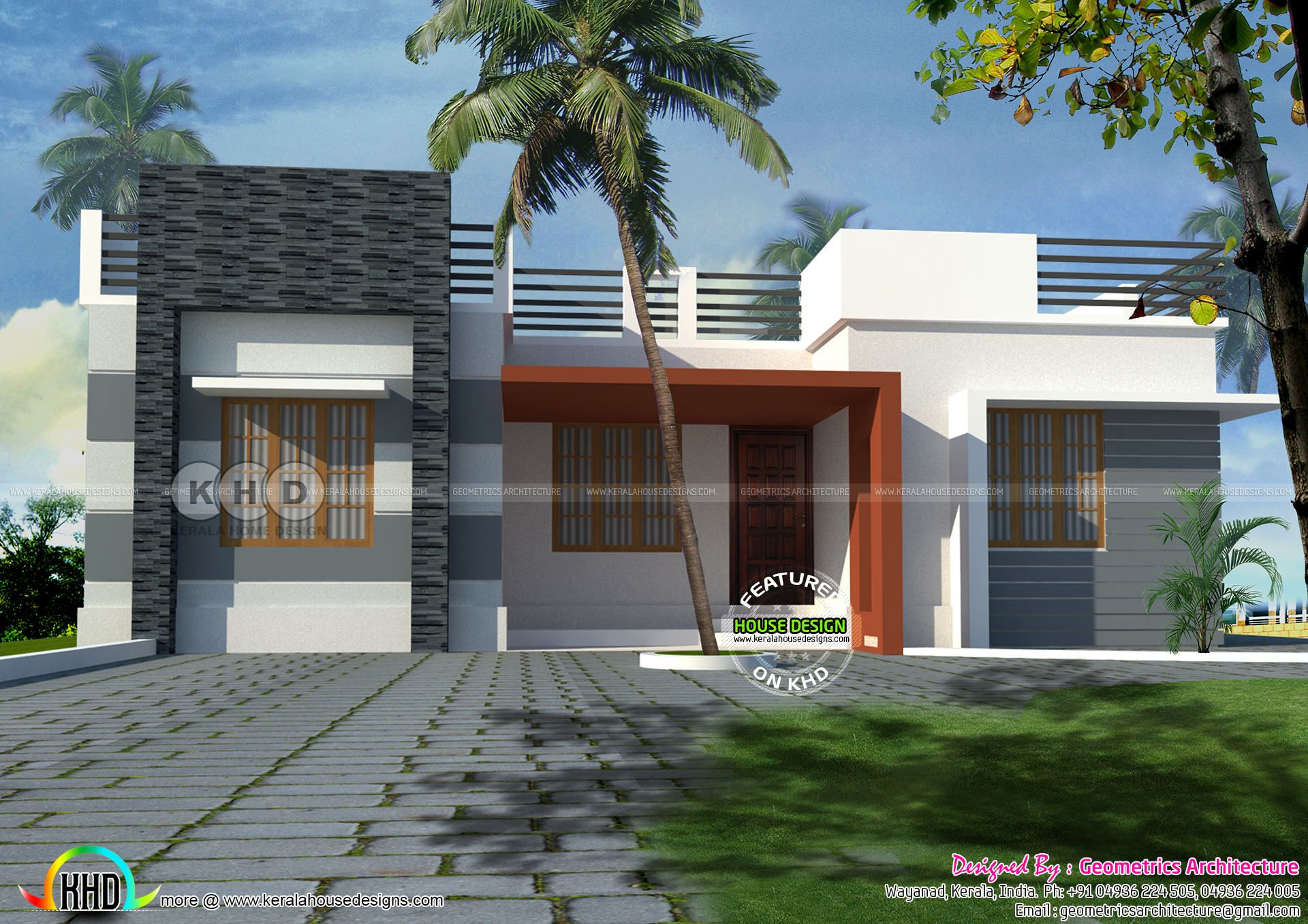 One Floor Flat Roof Home 930 Sq Ft Bungalow House Design Small House Elevation Design House Front Design