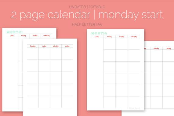 The  Page Calendar Monday Start Undated Editable  Letter