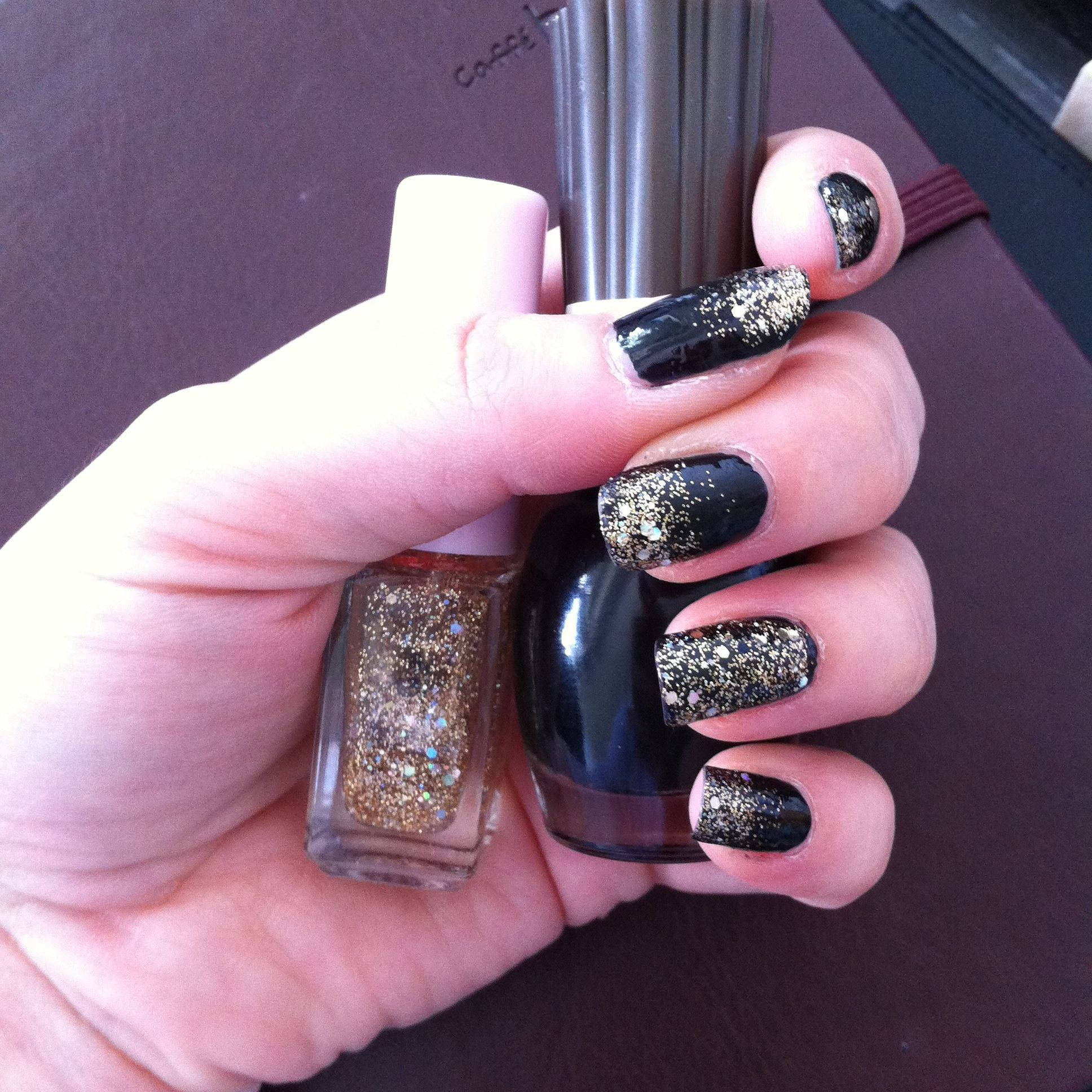 Special Christmas nail~ Did it with normal black and Etude House ...