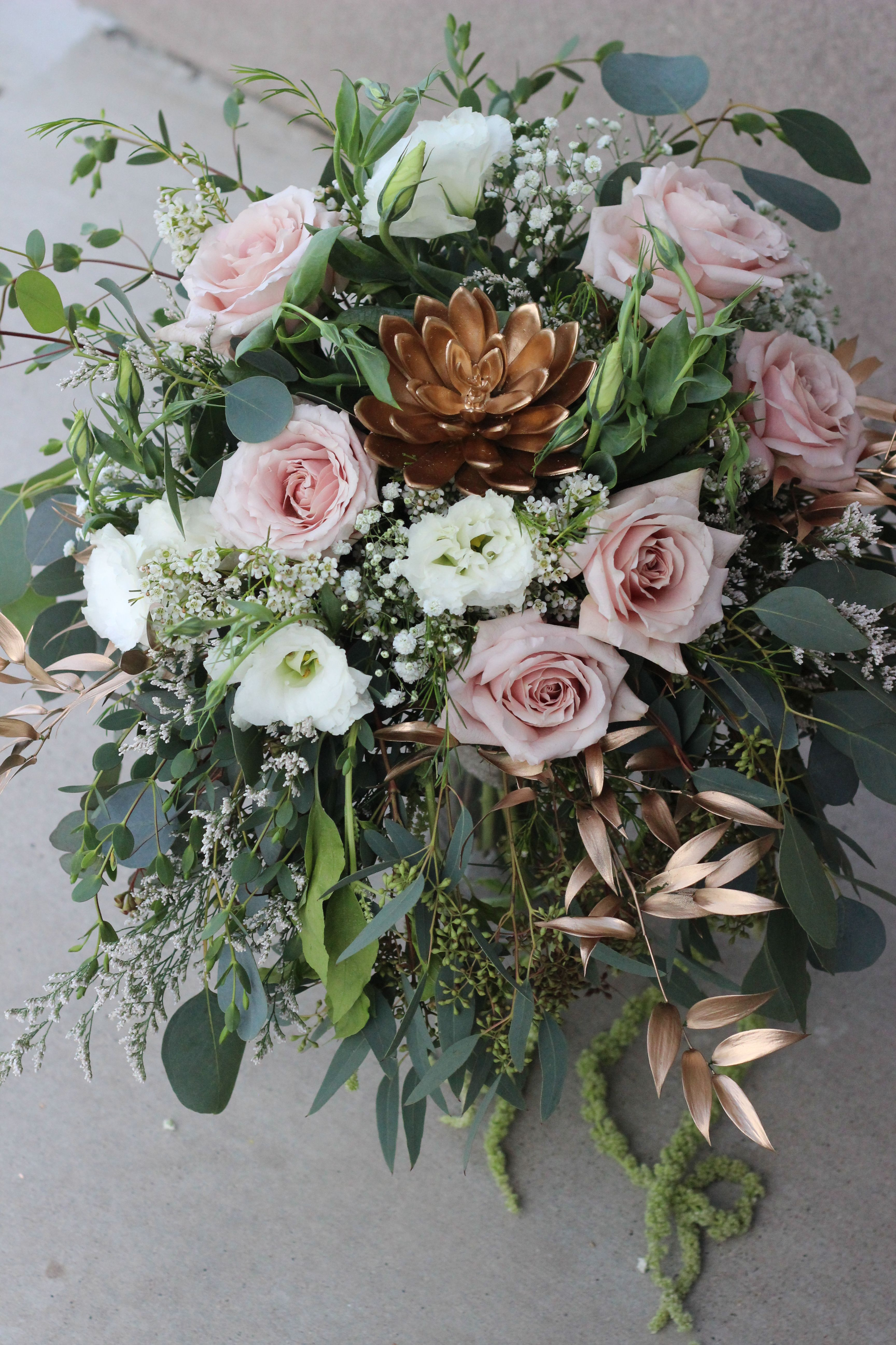 Bridal Bouquet Quicksand Roses White Lisianthus Gold Tinted Succulent Gold Tinted Italian Ruscus Eucalyptus Wa Wax Flowers Wedding Flowers Bridal Bouquet