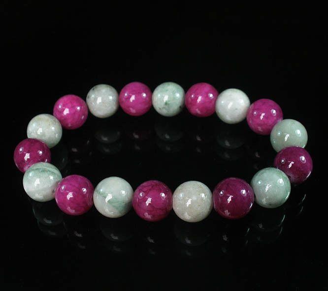 Bicolors Light color Purple Chinese Jade Gemstone Prayer Mala Beads Bracelet Z43