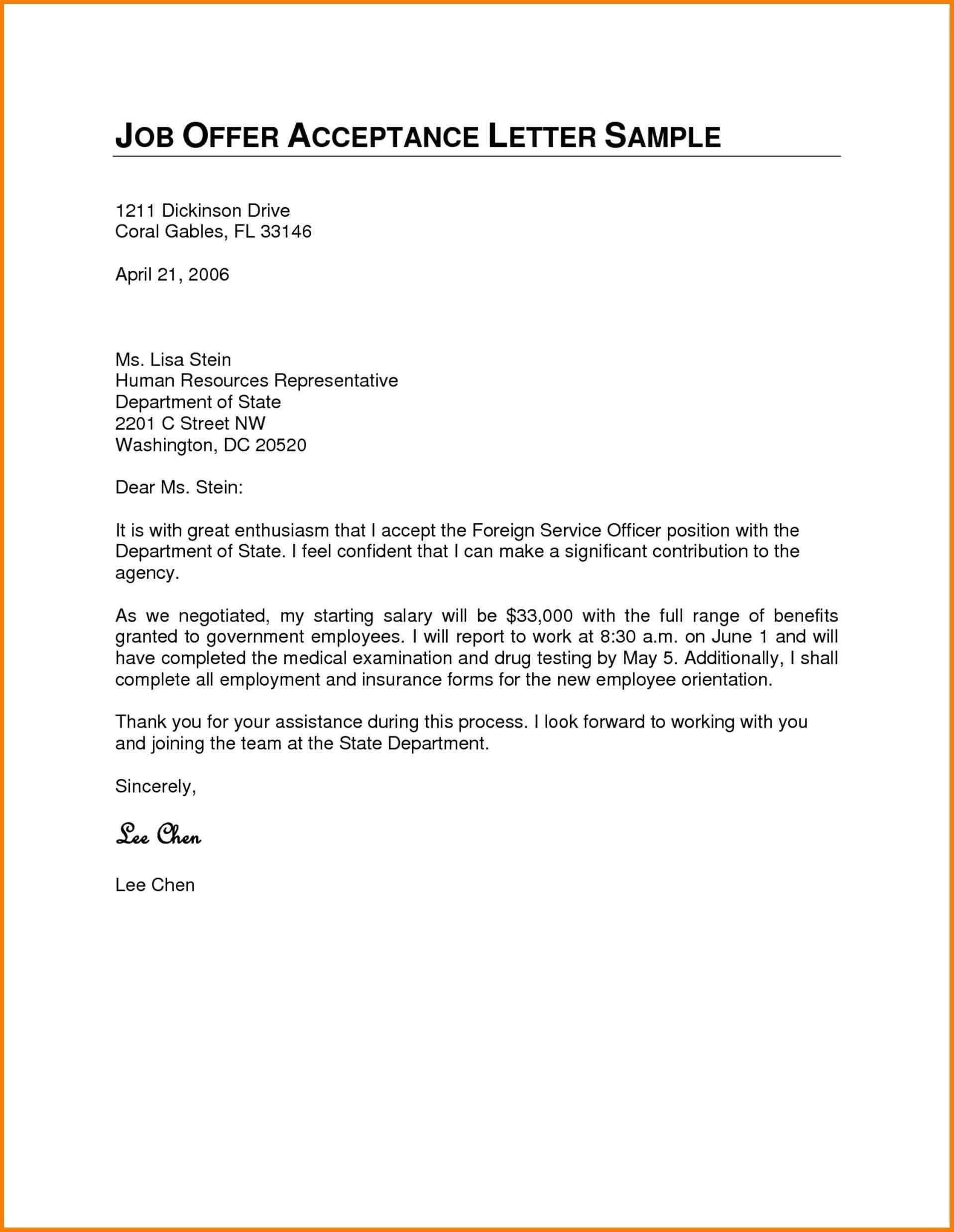 Valid Thank You Letter after Job Acceptance Job offer