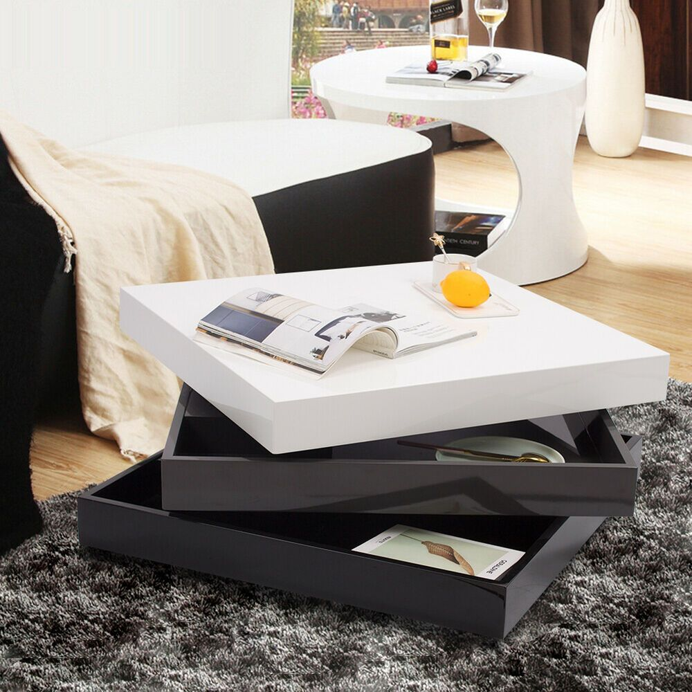 High Gloss Coffee Table 3Layer Rotating Square Storage ...