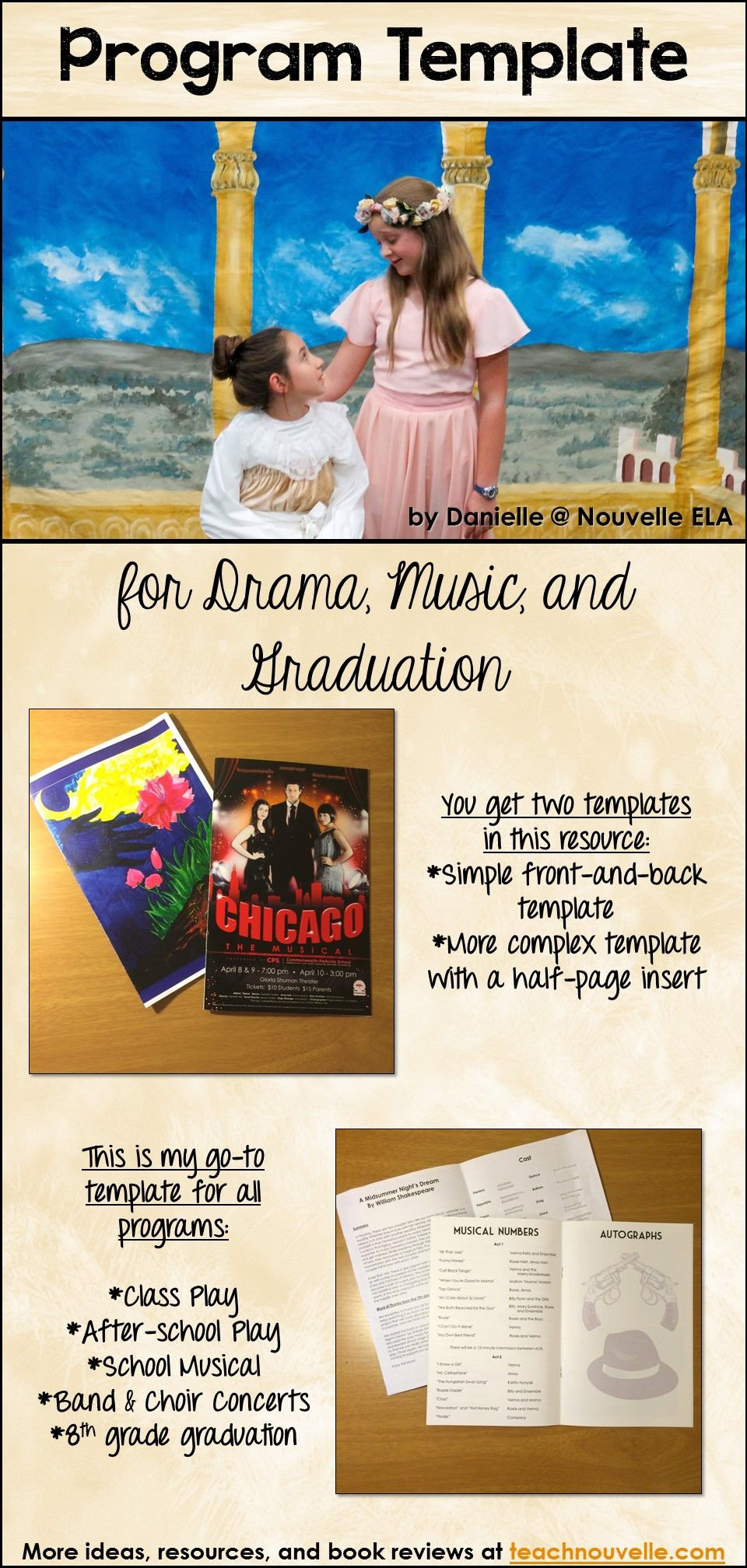 Program Template For Drama Music Graduations And More Nouvelle