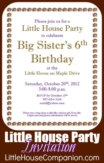 Little House birthday party invitation LittleHouse party