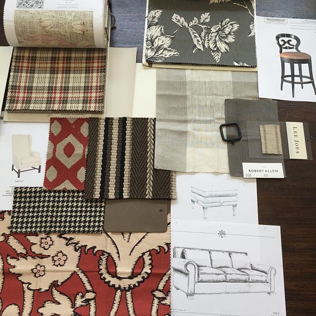Design plan for an Americana, rustic interior. I'm incorporating a rusty red because of art and a few other items they have in their home. Introducing black for some distinction and punctuation and the greige is just so much better than the browns and golds that they had previously. Love the striped flat weave rug.