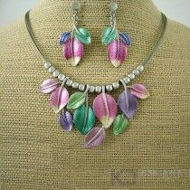 colourful leaves rhodium necklace set