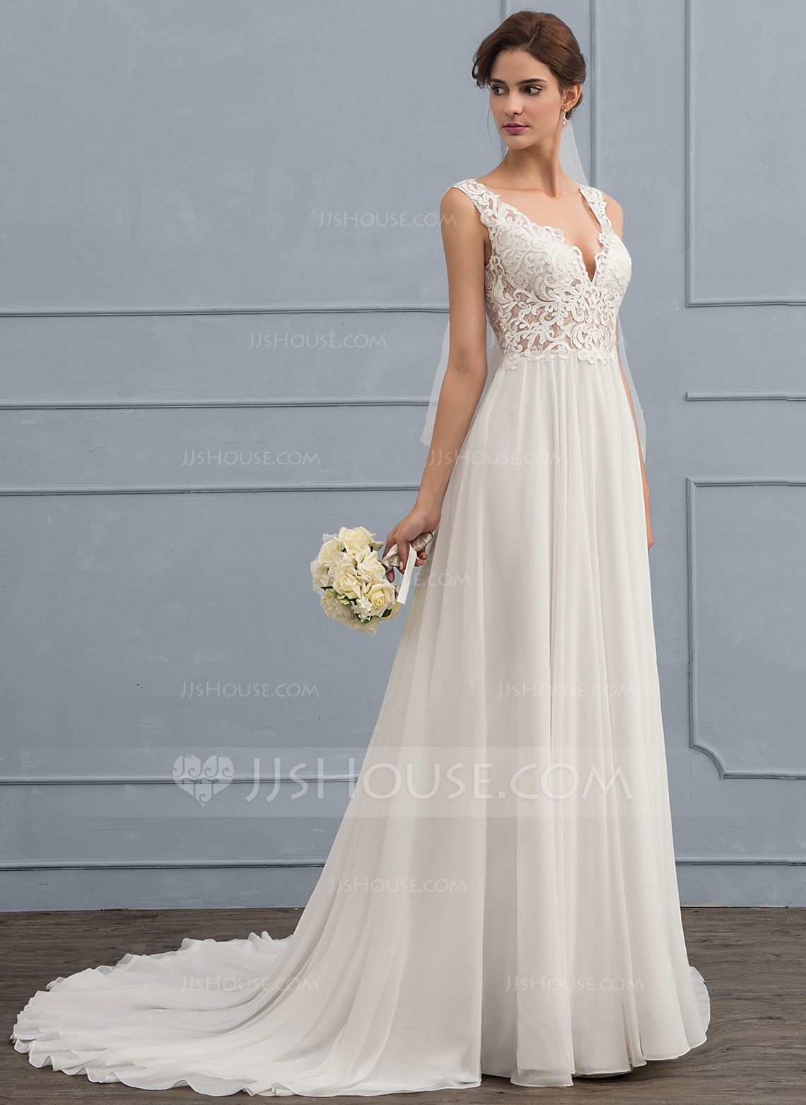 Us 236 00 A Line V Neck Court Train Chiffon Wedding Dress Jj S House Online Wedding Dress Wedding Dresses Chiffon Wedding Dress [ 1562 x 1140 Pixel ]