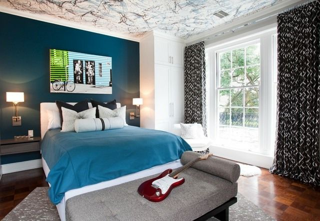Schlafzimmer Wand Petrolblau streichen Ideen | home | Pinterest ...