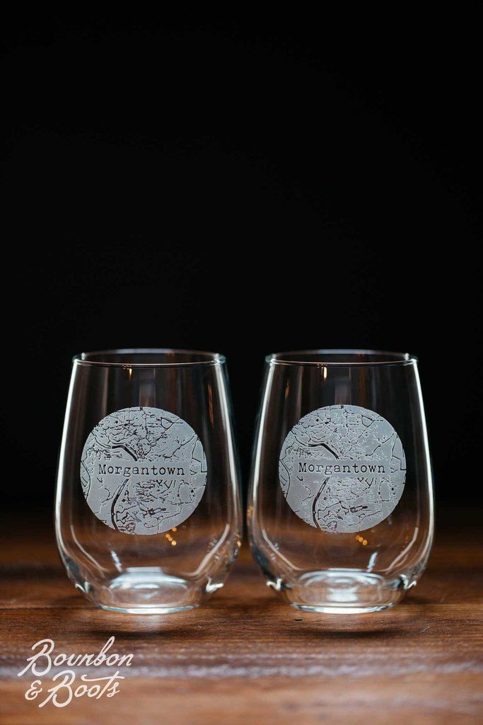 Morgantown College Town Engraved Stemless Wine Glass Set