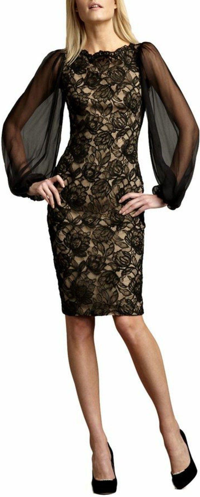 t elegante damenmode schwarzes kleid mit aermel spitze schuhe mit ...