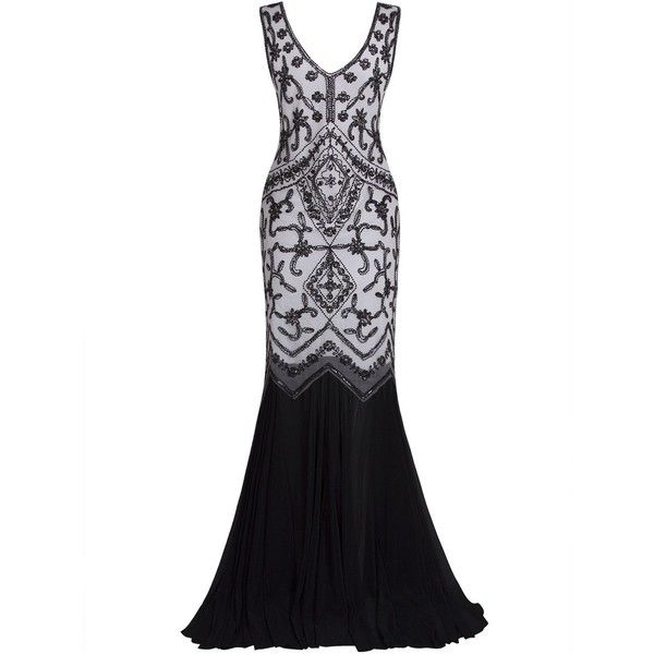 e0b59e339e6e4 Vijiv 1920s Long Prom Dresses V Neck Beaded Sequin Gatsby Maxi Evening...  ($2) ❤ liked on Polyvore featuring dresses, 1920s flapper dress, sequin  dress, ...