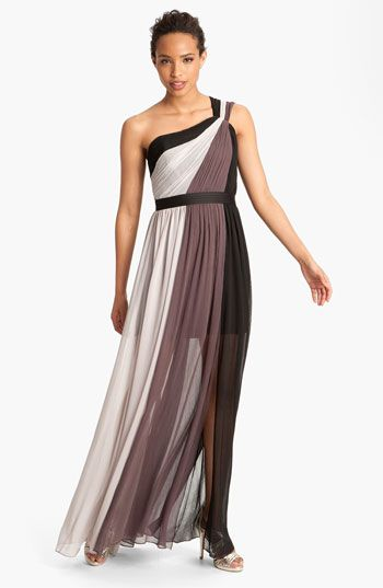 gala dress?  Max & Cleo 'Estee' One Shoulder Sheer Chiffon Gown | Nordstrom