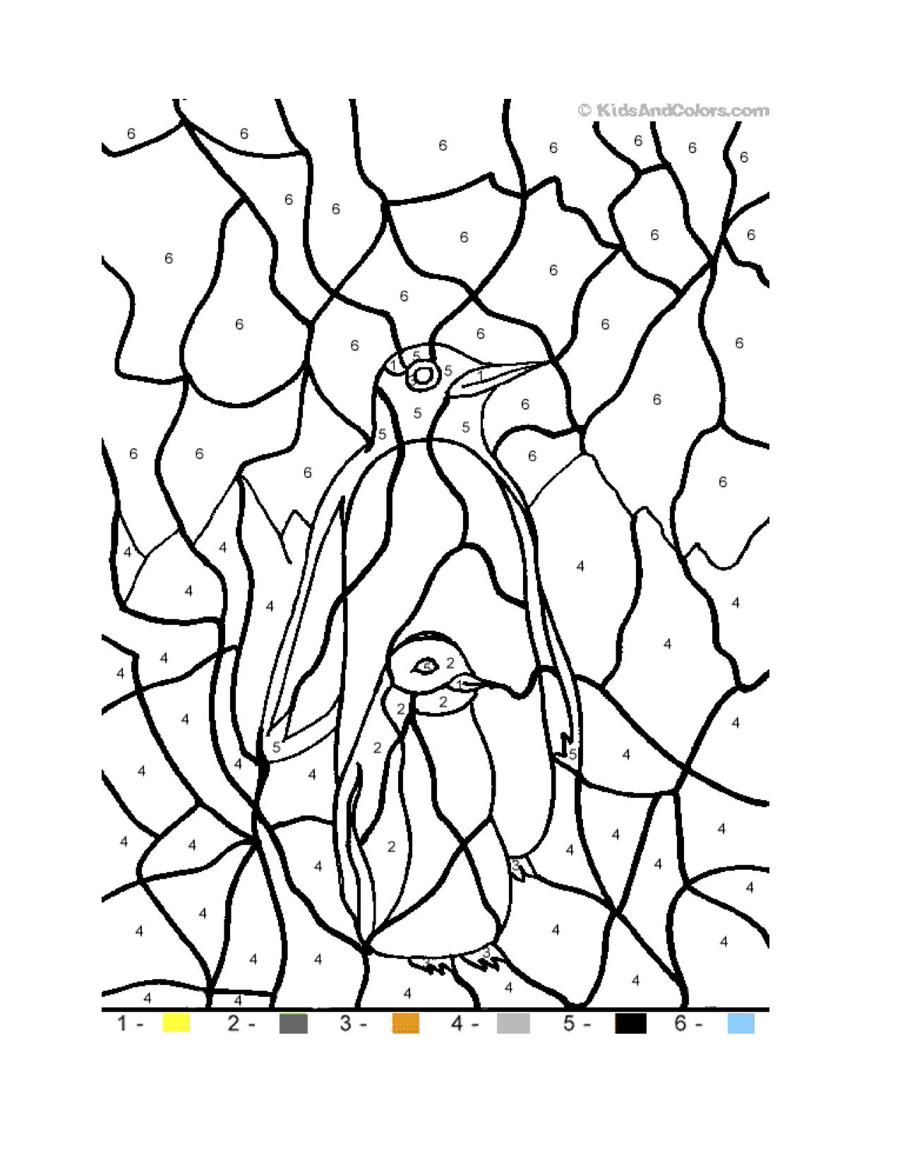 Letter P / Penguin color by number Penguin coloring