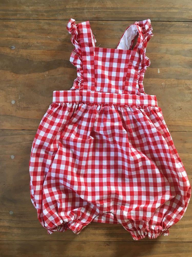 94c6d818133a Baby Gap Gingham Romper Plaid Red White 6 12 Months Girls EUC