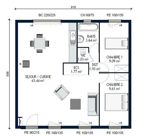 plan de maison de 70m2 plain pied