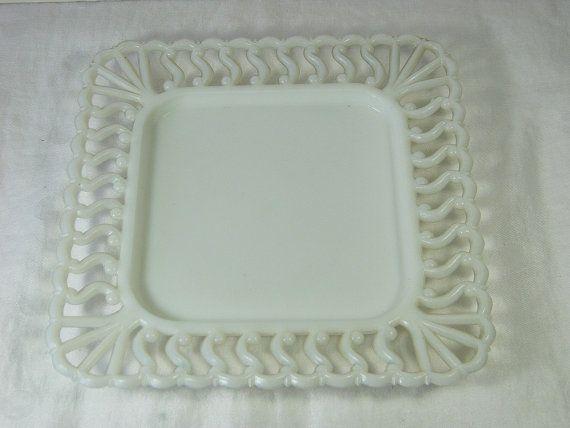 Vintage Lace Rim Milkglass Plate Square by LavenderGardenCottag