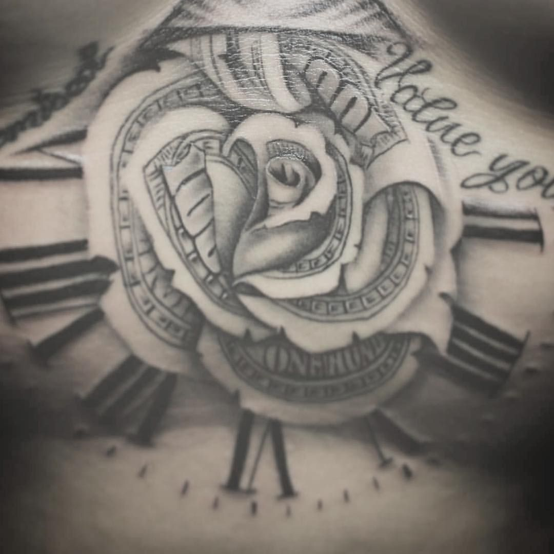 Sternum tattoo of our classic Money Rose nicely done by ... - photo#4