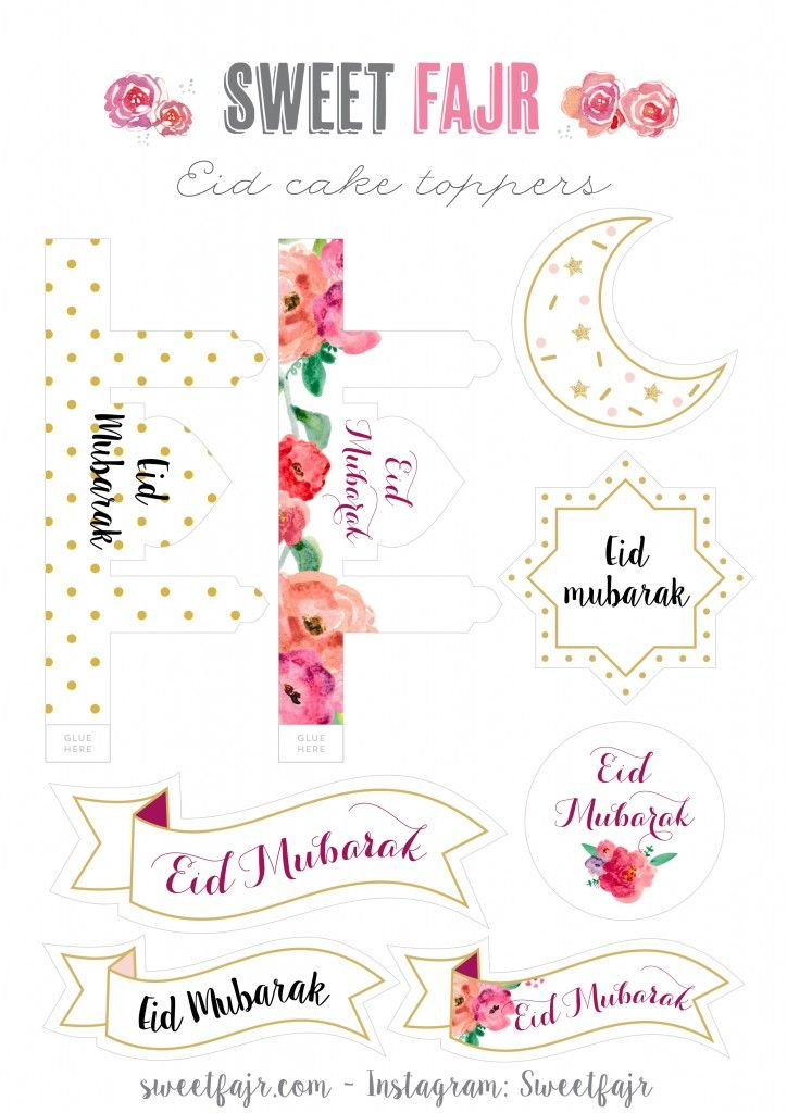 Preparing Some Crafts Gifts Or Cakes For Eid Free Printable Eid Gift Tags And Cake Toppers Eid Fikirler Ramazan