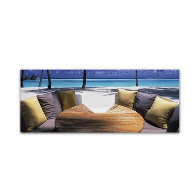 """Trademark Art """"Beach Bunker-Maldives"""" by David Evans Photographic Print on Wrapped Canvas Size: 10"""" H x 32"""" W x 2"""" D"""