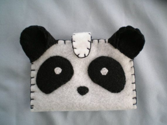 Items similar to Handmade Felt Wallet - Panda black-and-white on Etsy