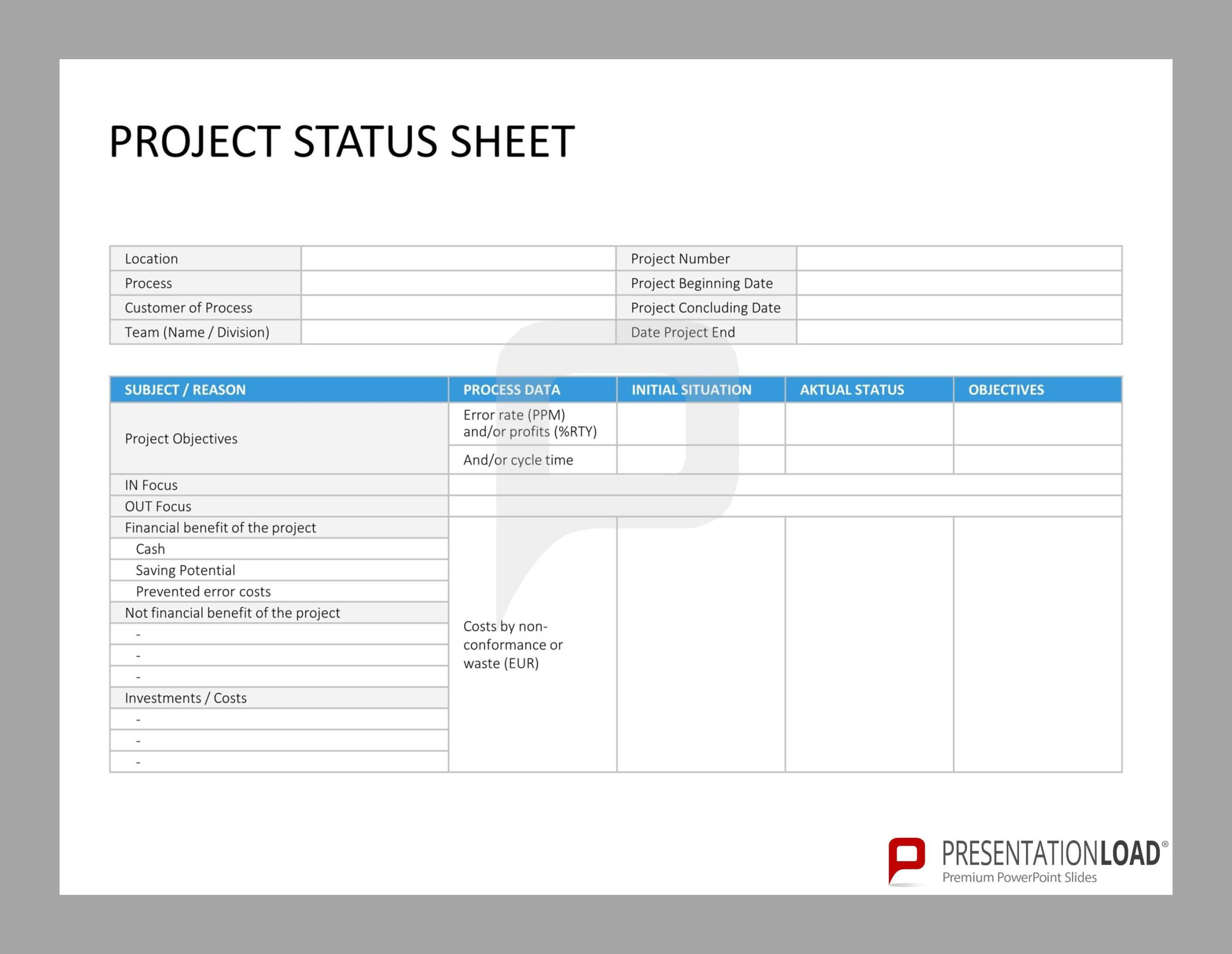 Project Status Sheet Six Sigma PowerPointtemplates http – Project Sheet Template
