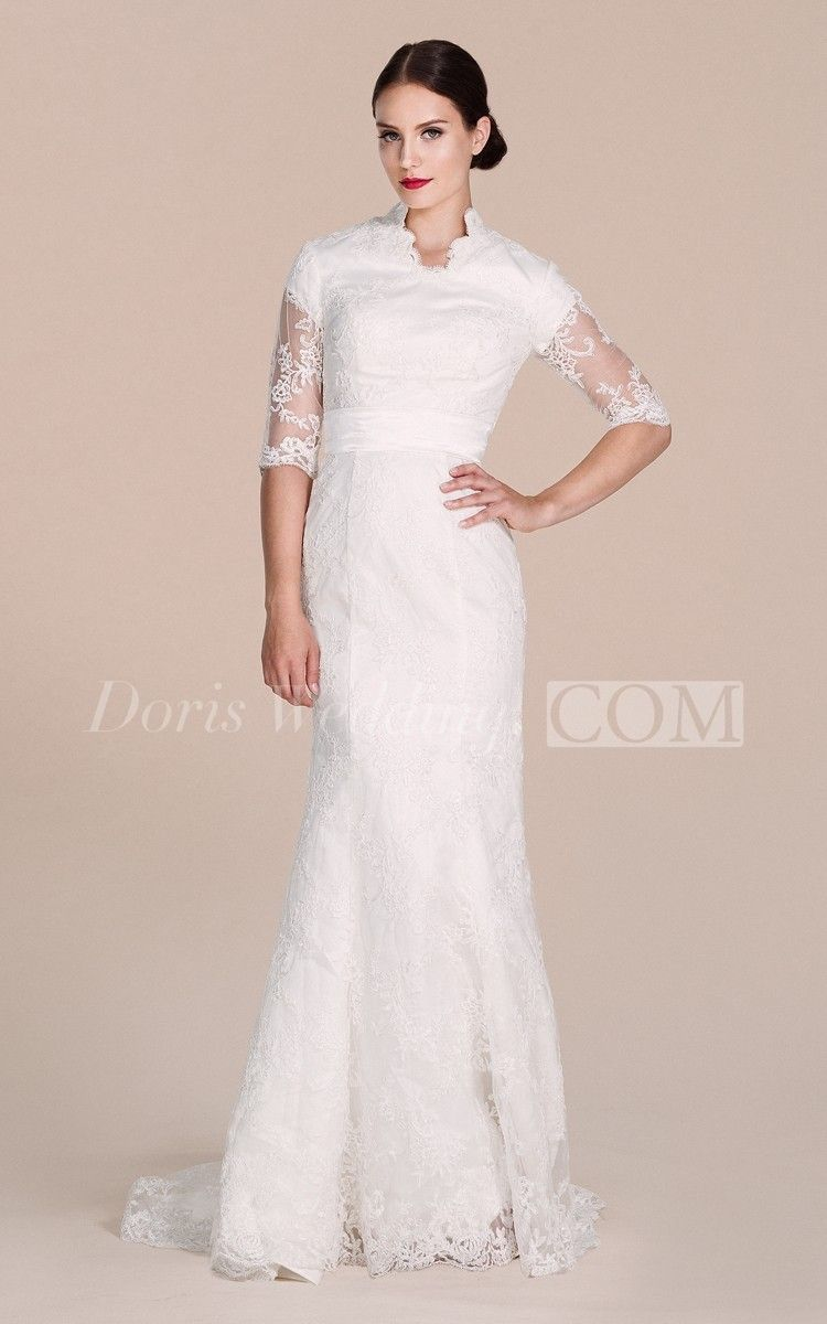 Halfsleeved lace gown with illusion sleeves illusions lace