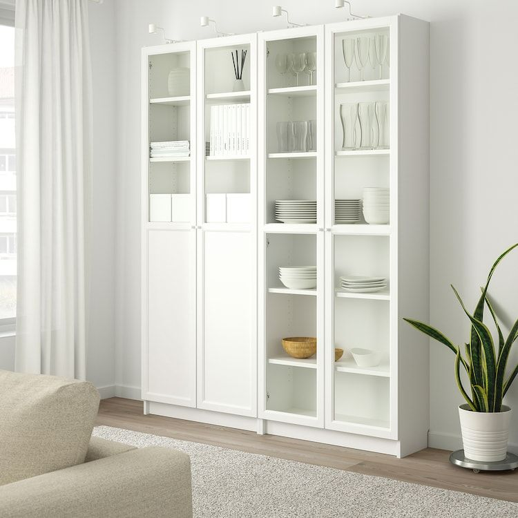 Billy Oxberg Bookcase With Panel Glass Doors White Glass 63x11 3 4x79 1 2 Ikea Bookcase With Glass Doors White Paneling Ikea Closet Doors