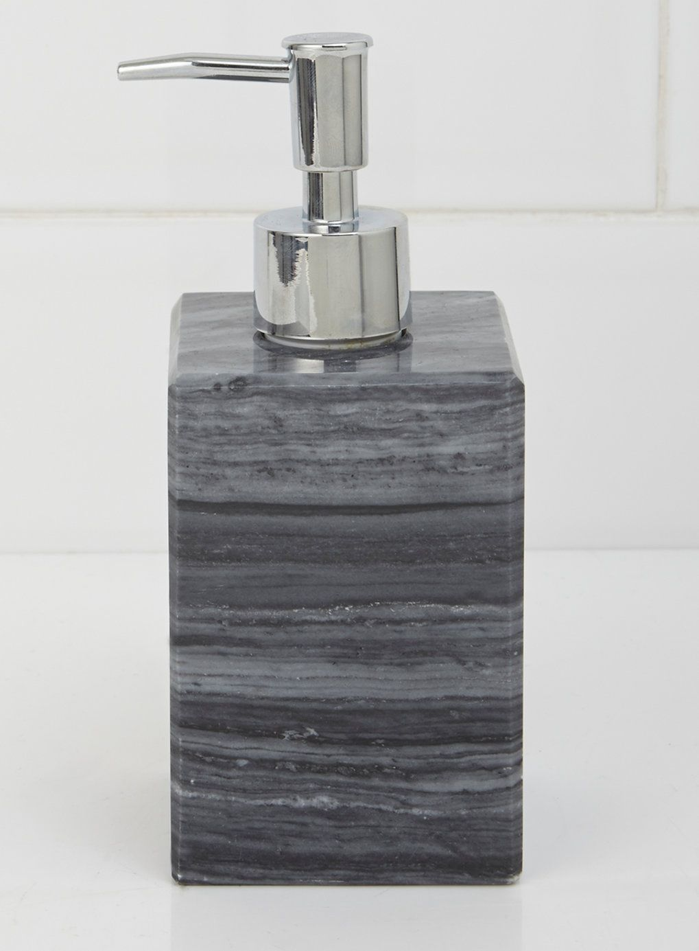 Grey marble soap dispenser bhs bathroom accessories for Marble toilet accessories