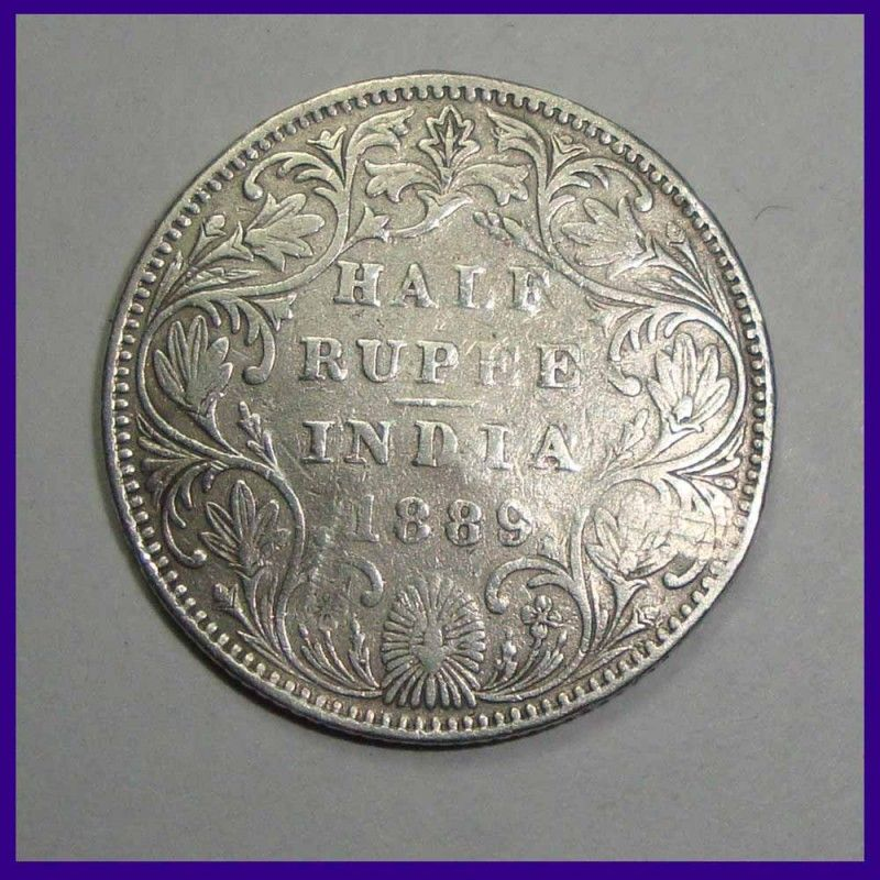 1889 Victoria Empress Half Rupee Silver Coin British India Copper Coins Coins Old Coins