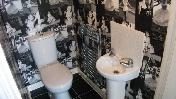 room ideas classic full wall of marilyn monroe in bathroom