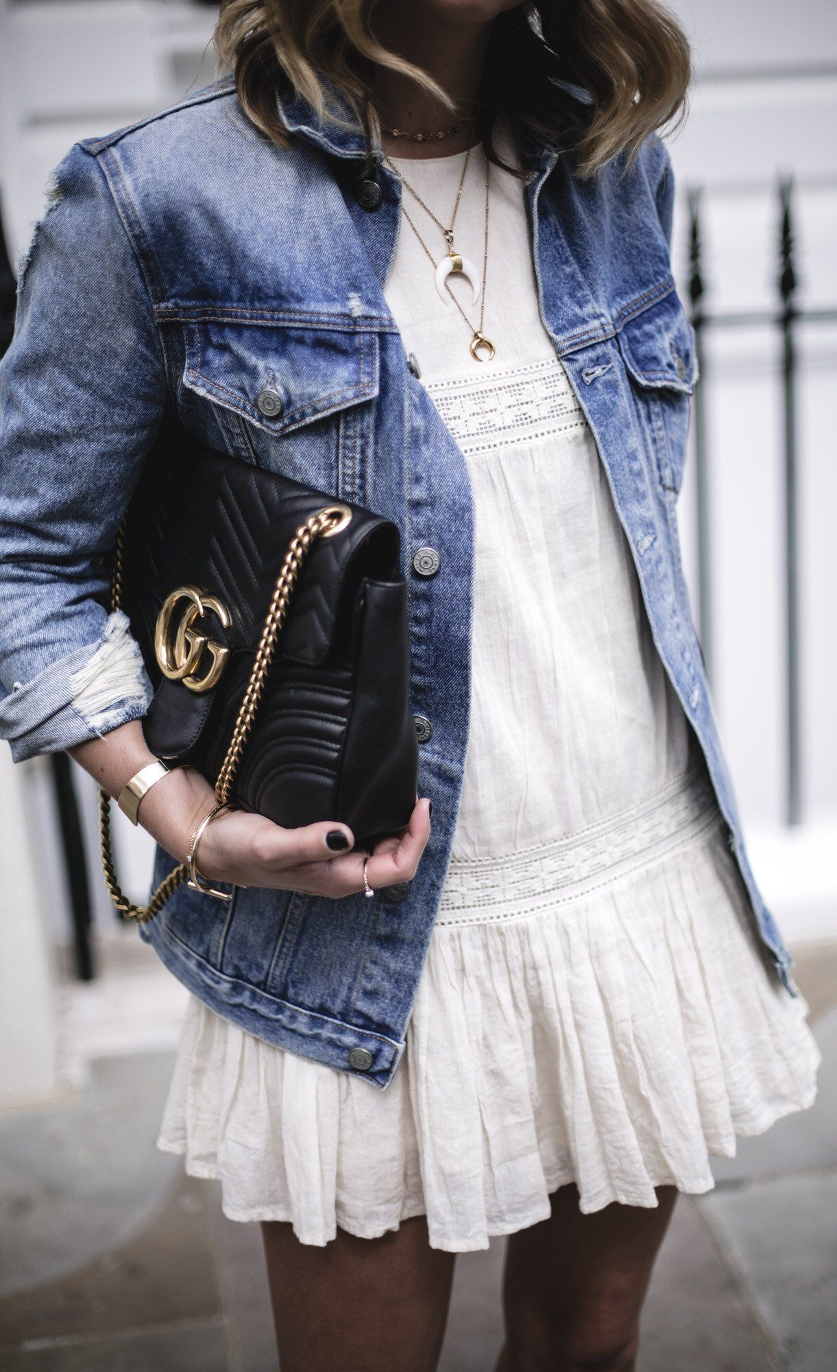Summer Outfits Denim Jacket White Tulle Dress Elegant Summer Outfits Denim Jacket With Dress White Summer Outfits [ 2000 x 1221 Pixel ]