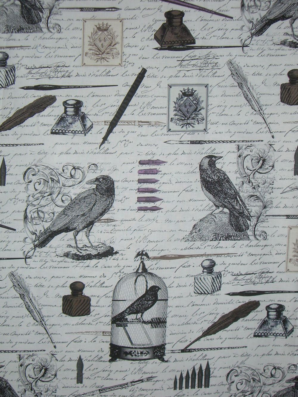Black on Ivory Nevermore Print Pure Cotton Fabric from Michael Miller--One Yard. $9.98, via Etsy.